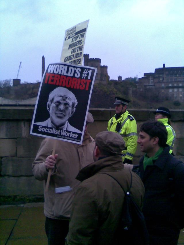 George Bush - No. 1 Terrorist. (In my opinion Tony Blair isn't far behind.) Picture taken on Edinburgh Gaza demo 10 January 2009.