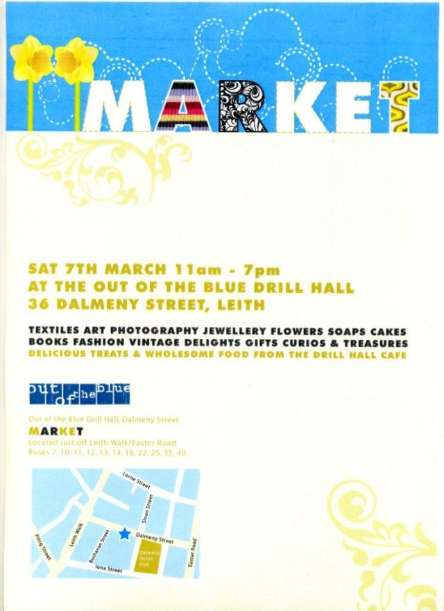 Poster for Out of the Blue Drill Hall Artists' Fair on 7 March 2009