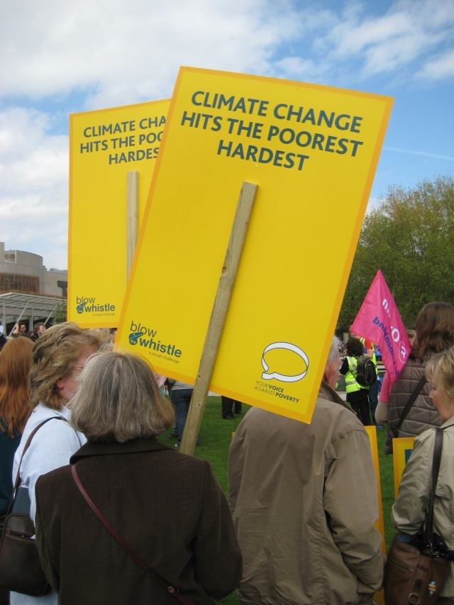 Demonstrators at the Scottish Parliament Climate Change Rally #1