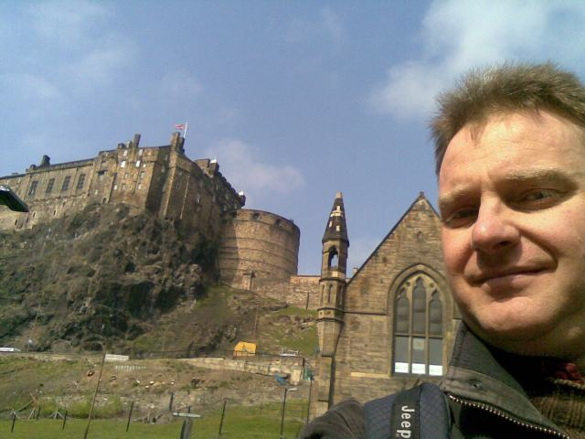 Myself in front of Edinburgh Castle on a sunny day in April 2009.