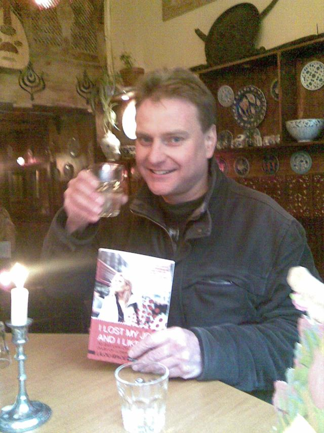 "Myself in Empires on St. Mary's Street, Edinburgh, celebrating the arrival of Lilou Mace's ""I Lost My Job and I Liked it""."
