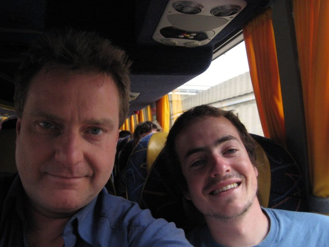 Asaf (R) and myself on the coach to Paris.