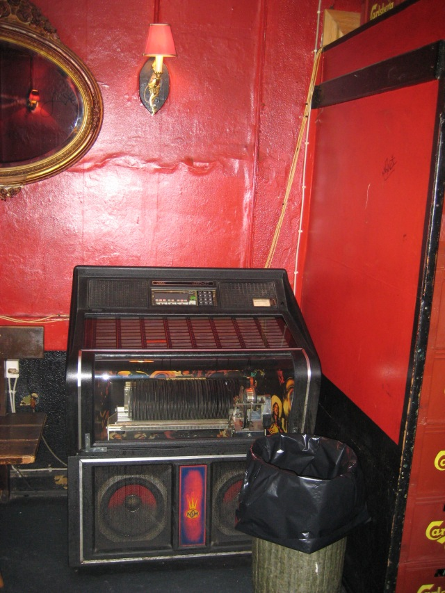 Interior of Andy's bar showing the jukebox.