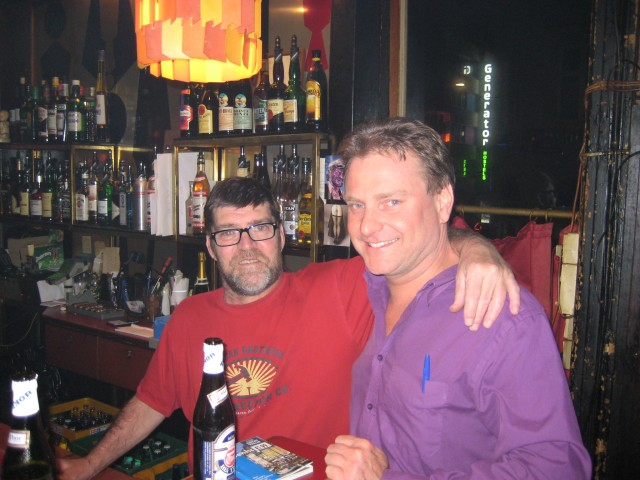The barman and myself in Andy's Bar.