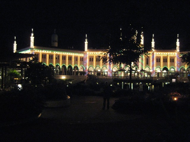 One of the many brightly lit buildings in Tivoli Gardens.