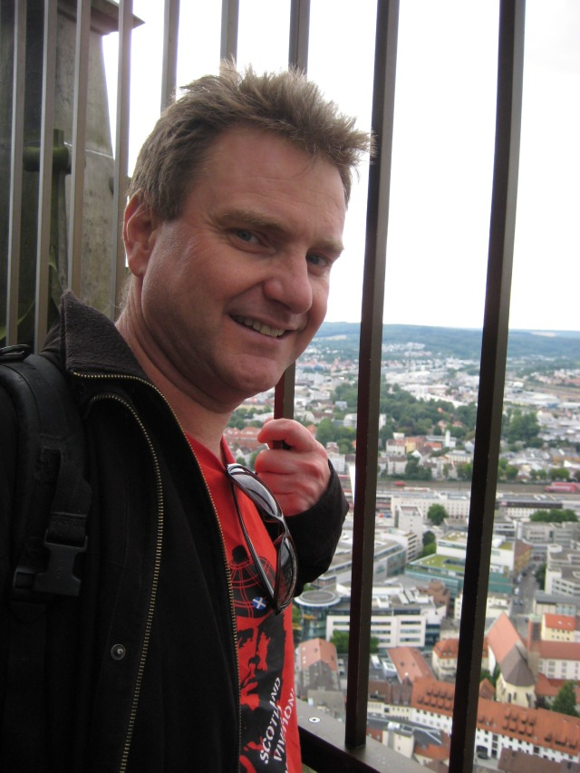 Eric in Ulm Cathedral spire.