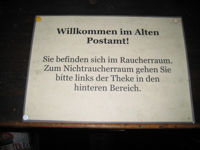 Smoking is allowed in some German bars.