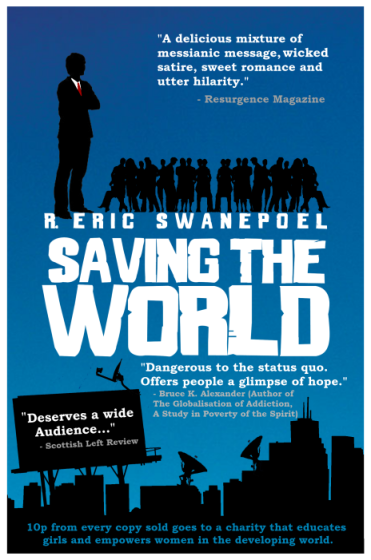 "The cover of ""Saving the World"", designed by Kit Foster."