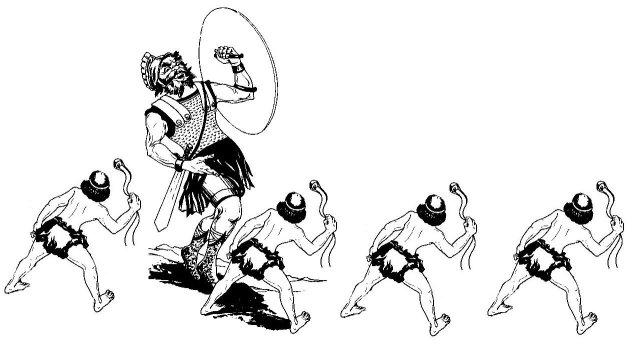 Several Davids against one Goliath.
