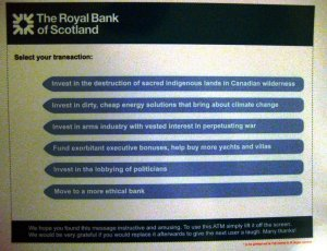 Close-up of a poster I saw attached to the screen of an RBS ATM.