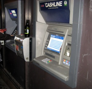 Campaigining poster on screen of RBS ATM on North Bridge on 27 January 2012