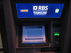 The poster was attached to the screen of an RBS ATM in Stockbridge.