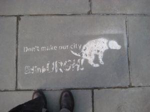 Anti-dog mess message on pavement