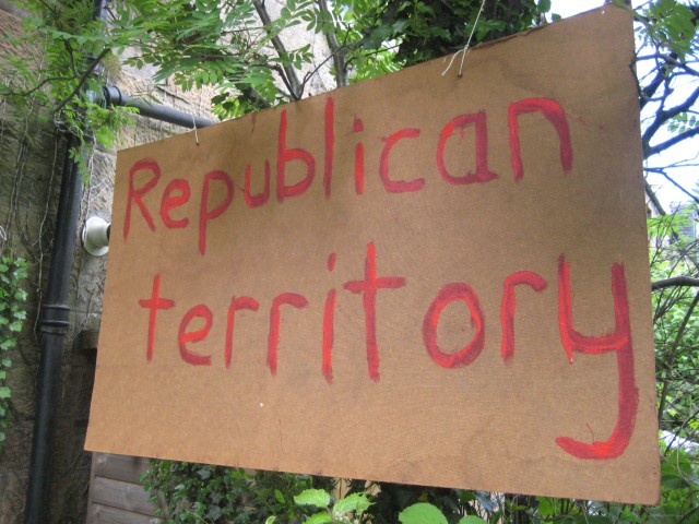 "The ""republican territory"" sign in my garden - my preparations for the diamond jubilee celebrations."