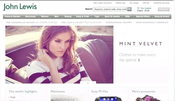 Screenshot from John Lewis website
