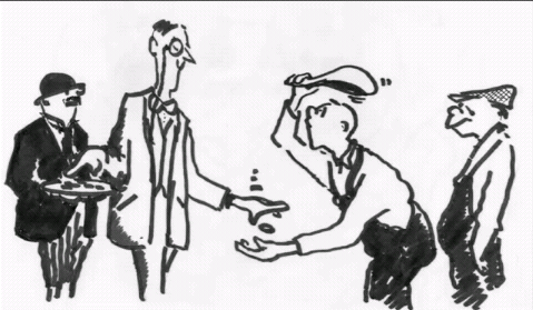 Cartoon of boss paying bonuses to his workers.