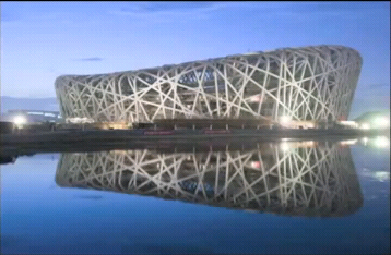 The Bird's Nest Stadium in Beijing.