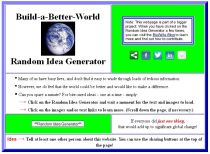 Screen capture of the Build-a-Better-World Random Idea Generator
