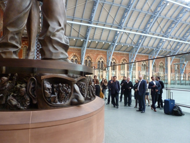 The base of a wonderful statue in St Pancras International station.