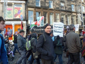 R. Eric Swanepoel participating in 17 November protest against Israel's attack on Gaza.