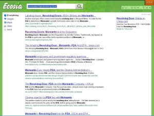 Ecosia search on the links between Monsanto and food regulators.