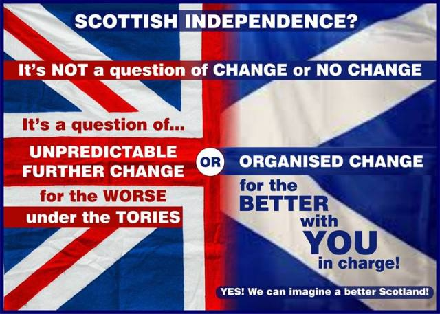 I am irritated by the presentation of the referendum on Scottish independence as a choice between the status quo (stability) and change. This is far from accurate. Click on this image to see it larger.