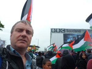 Protest in Glasgow at BBC pro-Israel bias.