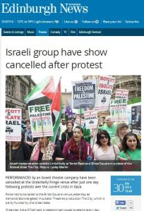 Israeli group have show cancelled after protest