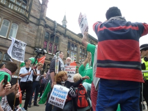 Human rights protesters target Israeli show at the Edinburgh Fringe Festival.
