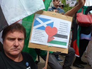 Eric at protest against Israeli show