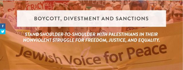 Jewish Voice for Peace supports a campaign of Boycott, Divestment and Sanctions against Israel.