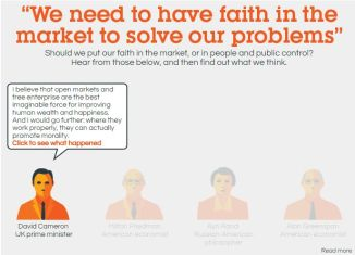 Screenshot of Global Justice Now infographic on faith in the market.