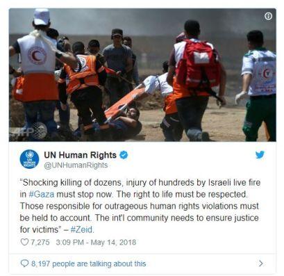 UN Human Rights Tweet re Israel's human rights violations.