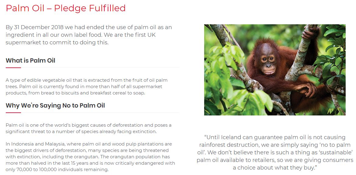 Screenshot from Iceland's website, This UK food retailer arguably leads the way on palm oil.
