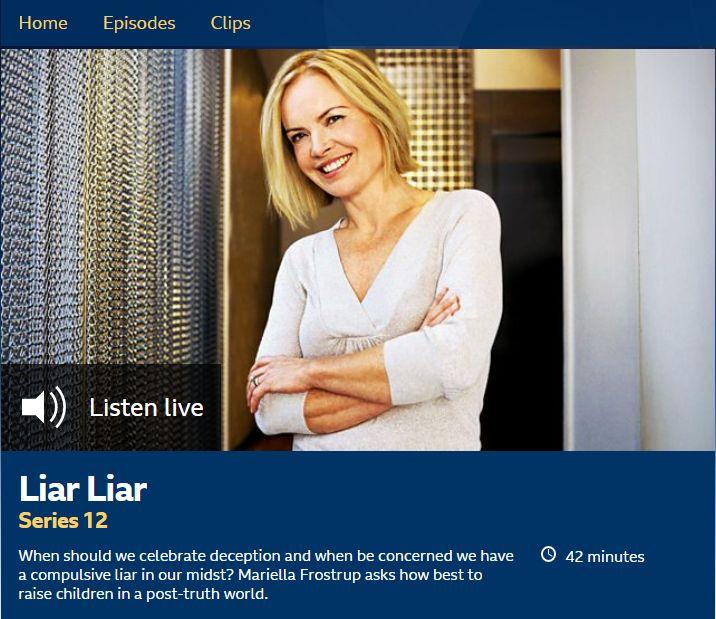 Mariella Frostrup presents Radio 4 programme on children lying